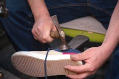 Cobbler. The master worker who repairs the shoe stock photos