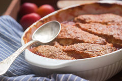 Cobbler with fruit filling, rustic style. Cobbler with fruit filling, rustic style, selective focus royalty free stock images