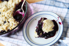 Cobbler made with fresh blueberries Royalty Free Stock Photo