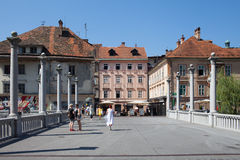 The Cobbler's Bridge Ljubljana Slovenia. LJUBLJANA, SLOVENIA - AUGUST 31, 2015: The Cobbler's Bridge or Shoemaker's Bridge, the oldest bridge of the romantic royalty free stock image