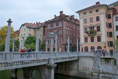 Cobbler`s Bridge in the Old Town of Ljubljana in Slovenia. Cobbler`s Bridge in the Old Town of Ljubljana in Sloveni, Europe royalty free stock images