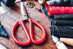 Cobbler tools in workshop on wooden background mock up.  royalty free stock photos