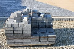 Cobbles at construction site. Pallet of cobbles at construction site royalty free stock image