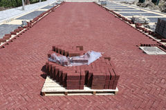 Cobbles at construction site Stock Images