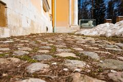 Cobbles at the foot of the palace in perspective. 2018 Royalty Free Stock Photography