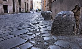 Stone bollard in the Jewish Ghetto, Rome Royalty Free Stock Images