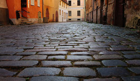 Cobbles on the pavement in the old town Royalty Free Stock Photos