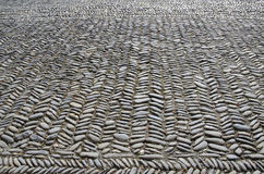 Cobbles in a yard. Cobbles from a bygone day,patterned and well worn stock photography