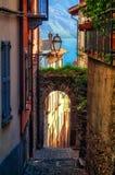 Cobblestone alley in Rezzonico (Lake Como) Stock Images
