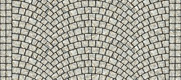Road curved cobblestone texture 013. Cobblestone arched pavement road with edge courses at the sidewalk. Seamless tileable repeating 3D rendering texture Stock Photos