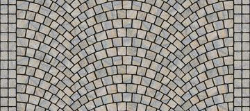 Road curved cobblestone texture 165. Cobblestone arched pavement road with edge courses at the sidewalk. Seamless tileable repeating 3D rendering texture Stock Images