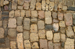 Cobblestone. Background of Old Damaged Cobblestone with Natural Dirties Outdoors Stock Images