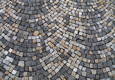 Cobblestone background pattern. Closeup view on a cobblestone road - pattern - background Royalty Free Stock Photography