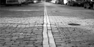 Cobblestone Brick Street Stock Photography