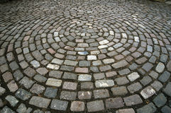 Cobblestone Circle Pattern. A circle pattern made of cobblestones on the ground Royalty Free Stock Image