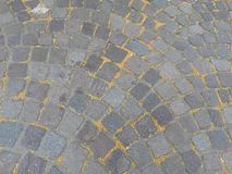 Cobblestone cobbles. Different kinds of cobbles pavement of a city at Germany stock photography