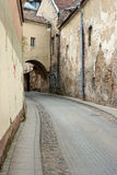Cobblestone curve road Royalty Free Stock Images