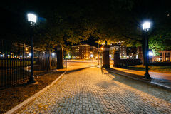 The cobblestone driveway to Johns Hopkins University at night, i stock images