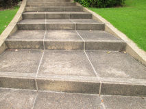 Cobblestone Footpath Curve With Stairs On Grass Stock Image
