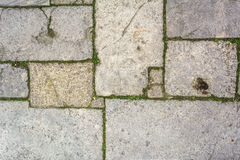 Cobblestone with grass texture Royalty Free Stock Images