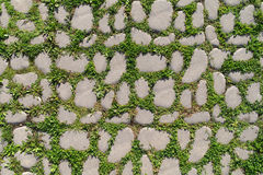 Cobblestone. With a green grass stock images