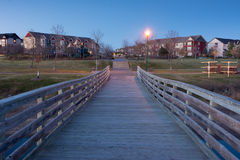 Cobblestone Lake Pier. In the Evening, Apple Valley Minnesota Royalty Free Stock Photography