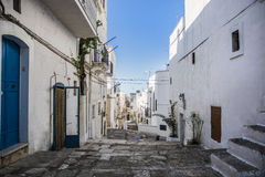Cobblestone Lane Between White Homes, Ibiza, Spain Royalty Free Stock Photography