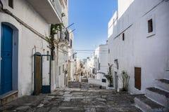 Cobblestone Lane Between White Homes, Ibiza, Spain Royalty Free Stock Photography
