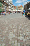 Cobblestone on marketplace in Poznan Royalty Free Stock Photo