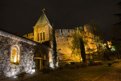 Cobblestone path along Kalemegdan fortress churches, towers and walls at night in Belgrade Stock Photography
