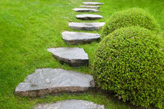 Cobblestone pathway in garden Royalty Free Stock Photos