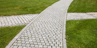 Cobblestone, paved way, crossing Stock Photography