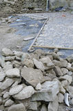 Cobblestone pavement installation Stock Images