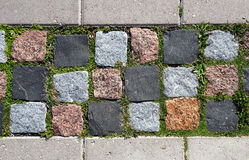 Free Cobblestone Pavement Overgrown With Moss And Grass Stock Photos - 22740003
