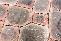 Cobblestone pavement. Texture of cobblestone road close-up. Part. Of the road, paved with red granite Royalty Free Stock Photos