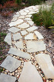Cobblestone and Pebble Pathway. Pathway winds through a garden Stock Image