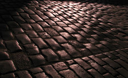 Cobblestone on a Rainy Evening Royalty Free Stock Photos