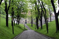 Cobblestone Road. An old cobblestone road road at akershus festning, Oslo Norway Royalty Free Stock Images