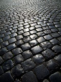 Cobblestone road in backlight Stock Photography