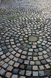 Cobblestone road. An old cobblestone road with circular pattern, Liverpool, England, UK Royalty Free Stock Photos