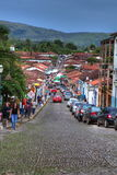 Cobblestone road Pirenopolis city Brazil Royalty Free Stock Image