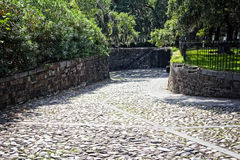 Cobblestone road in Savannah, GA Royalty Free Stock Photo