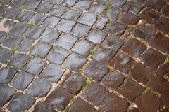 Cobblestone, Road Surface, Grass, Pattern
