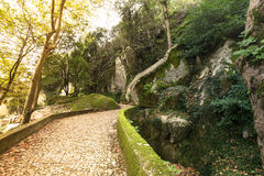 Cobblestone road to the palace foam among the rocks and trees Royalty Free Stock Photography