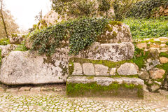 Cobblestone road to the palace foam among the rocks and trees an Stock Image