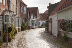 Cobblestone road in Tonder, Denmark Royalty Free Stock Image