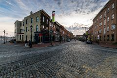 Cobblestone Roads in downtown historic Harbor East/ Fells Point, Baltimore Maryland royalty free stock photos
