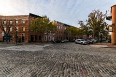Cobblestone Roads in downtown historic Harbor East/ Fells Point, Baltimore Maryland royalty free stock photo