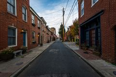 Cobblestone Roads in downtown historic Harbor East/ Fells Point,. Baltimore Maryland Royalty Free Stock Images