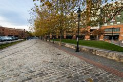Cobblestone Roads in downtown historic Harbor East/ Fells Point,. Baltimore Maryland Stock Images